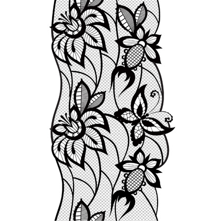 invented: Abstract silhouettes invented decorative butterflies. These butterflies and flowers are reminiscent of lace, they are created to decorate Illustration