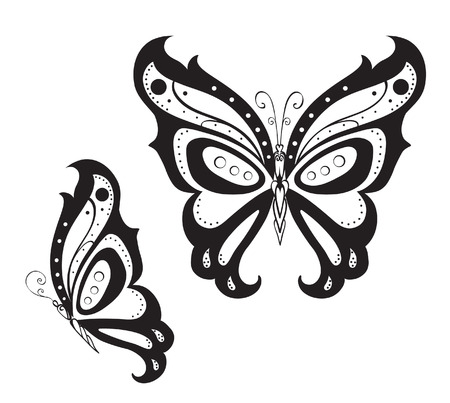 butterfly silhouette: Abstract silhouette invented decorative butterfly. Reminiscent of lace, it is designed to decorate
