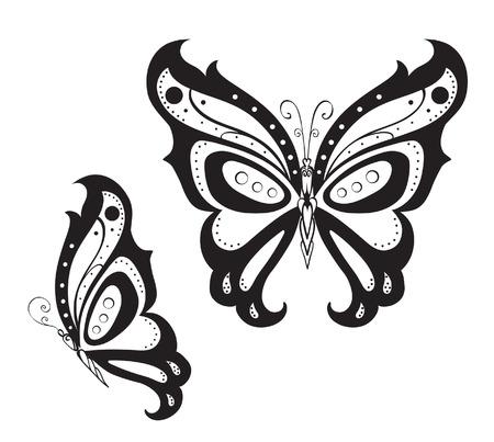 papillon dessin: Résumé silhouette inventé papillon décoratif. Réminiscence de la dentelle, il est conçu pour décorer