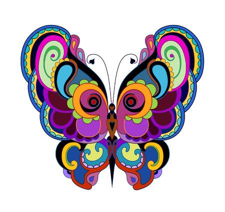 装飾デザインの明るい蝶。ポップアートのスタイルで
