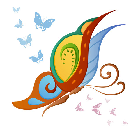 Abstract silhouette invented decorative colorful butterfly. It is designed to decorate Vector