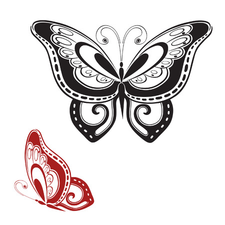 invented: Abstract silhouette invented decorative butterfly. Reminiscent of lace, it is designed to decorate