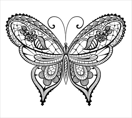 Abstract silhouette invented decorative butterfly. Reminiscent of lace, it is designed to decorate