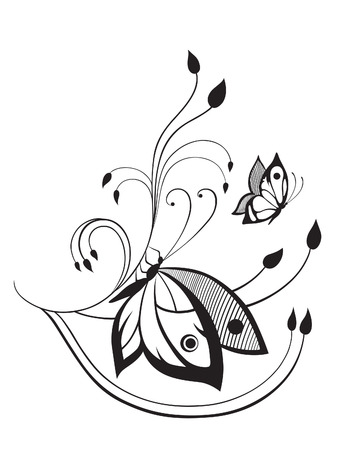 maybe: Abstract silhouette invented decorative butterfly. It is designed to decorate. Maybe for tattoo Illustration