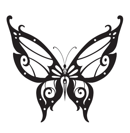 invented: Abstract silhouette invented decorative butterfly. It is designed to decorate Illustration