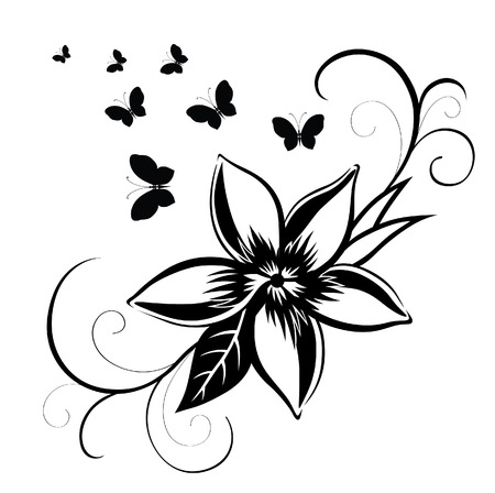 Abstract silhouette invented decorative butterfly. It is designed to decorate. Maybe for tattoo Stock Illustratie