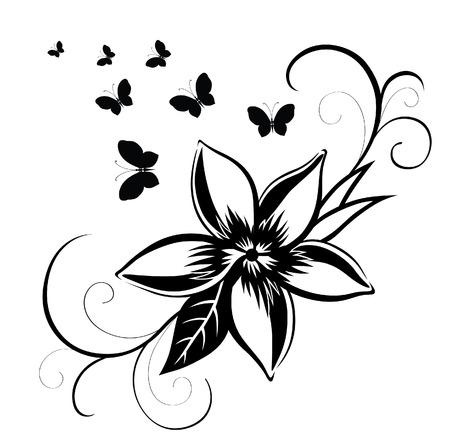 farfalla tatuaggio: Estratto silhouette inventato farfalla decorativa. È stato progettato per decorare. Forse per il tatuaggio