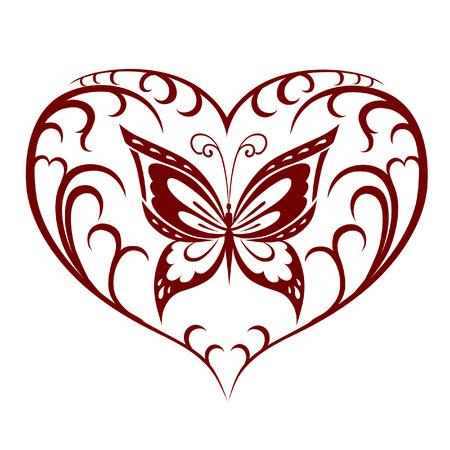 Abstract silhouet uitgevonden decoratieve vlinder. Het is ontworpen om te versieren. Misschien voor tattoo