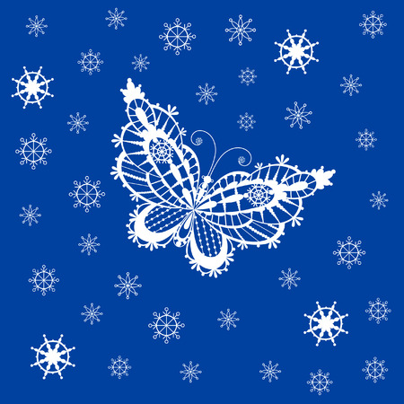 Abstract silhouette invented decorative butterfly and snowflakes. It is designed to decorate. This is reminiscent of lace Vector