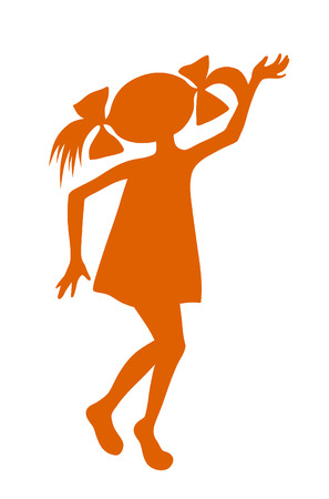 Silhouette cartoon little playing girl