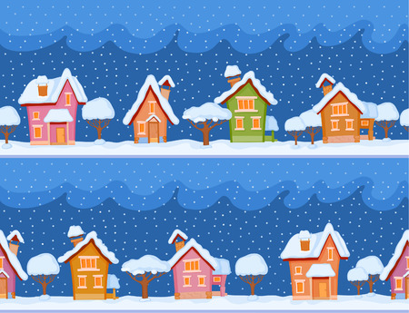 snowcovered: Childish seamless pattern with little snow-covered houses and trees. The evening comes and the snow falls