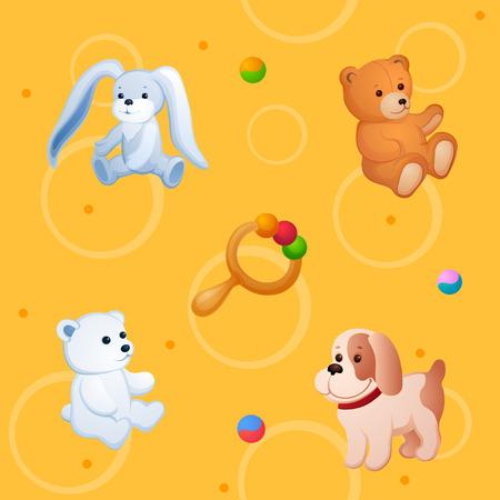 배경이 다른 장난감입니다. 봉제 작은 동물 및 기타 재미있는 항목 일러스트