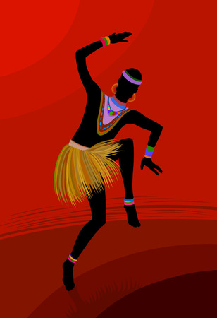 Ethnic dance involves unity with nature. Wild and free in the midst of creating a ritual of life itself Illustration