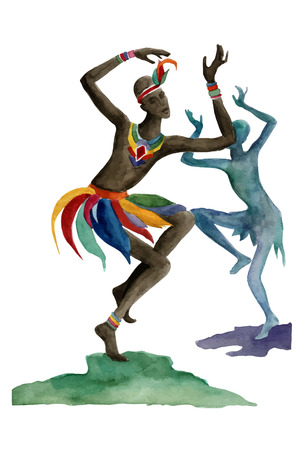 aborigines: Ethnic dance involves unity with nature. Wild and free in the midst of creating a ritual of life itself Illustration