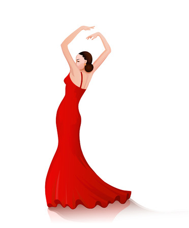 spanish girl: Spanish girl performs a dance full of emotion and passion in traditional dress Illustration