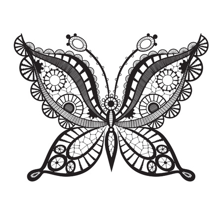 butterfly tattoo design: Abstract silhouette invented decorative butterfly. It is designed to decorate Illustration