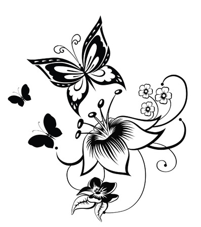 butterfly flower: Abstract silhouette invented decorative butterfly. It is designed to decorate. Maybe for tattoo Illustration