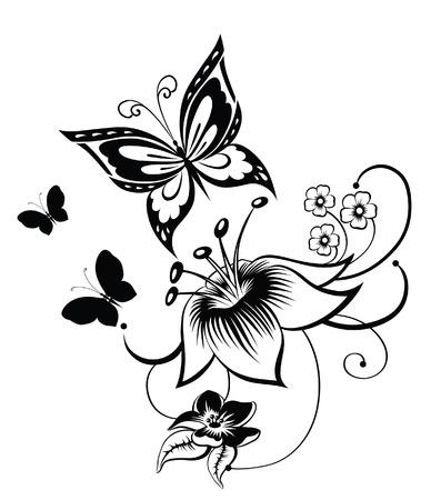 tatouage fleur: R�sum� silhouette invent� papillon d�coratif. Il est con�u pour d�corer. Peut-�tre pour le tatouage Illustration