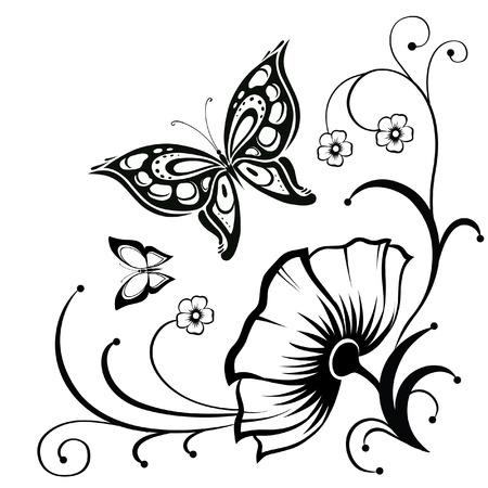 papillon dessin: R�sum� silhouette invent� papillon d�coratif. Il est con�u pour d�corer. Peut-�tre pour le tatouage Illustration