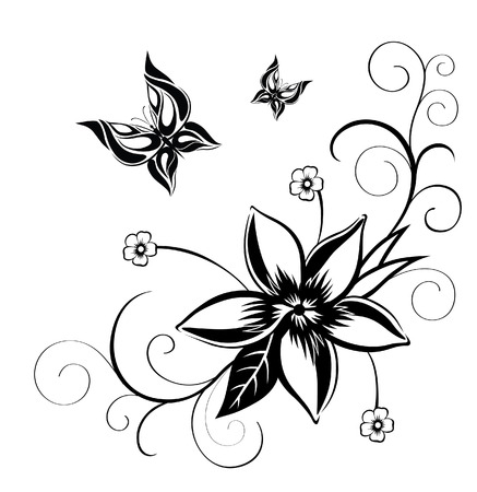 decorative shape: Abstract silhouette invented decorative butterfly. It is designed to decorate. Maybe for tattoo Illustration