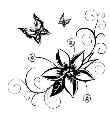 mariposas volando: Silueta abstracta inventado mariposa decorativa. Est� dise�ado para decorar. Tal vez para el tatuaje
