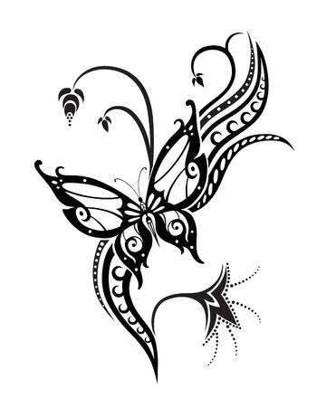 抽象的なシルエットは、装飾的な蝶を発明しました。それは飾るために設計されています。タトゥーの多分  イラスト・ベクター素材