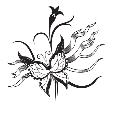 butterfly tattoo design: Abstract silhouette invented decorative butterfly. It is designed to decorate. Maybe for tattoo Illustration