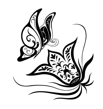 Abstract silhouette invented decorative butterfly. It is designed to decorate. Maybe for tattoo Vector