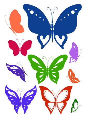 Abstract silhouettes invented decorative butterflies. Collection to choose one that is most needed now Vectores