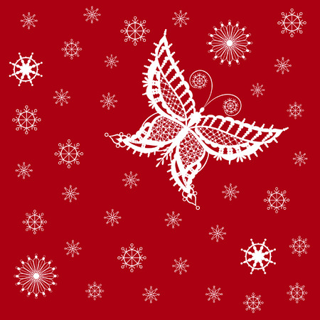 invented: Abstract silhouette invented decorative butterfly and snowflakes. It is designed to decorate. This is reminiscent of lace