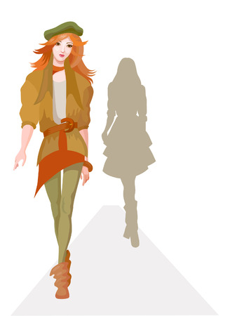 brown shirt: Fashion model representing collection on review – vector Illustration