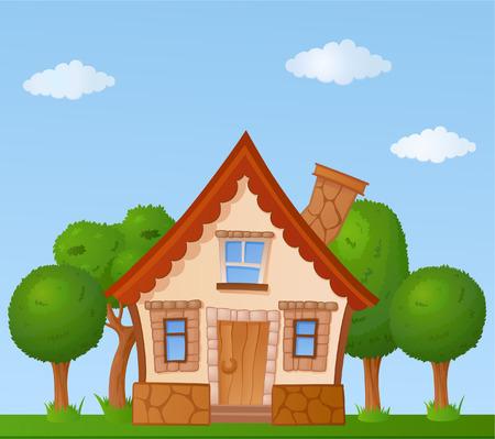 The facade of a small house