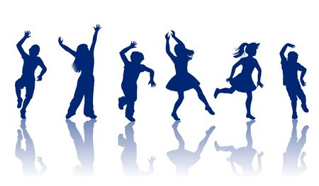 long hair boy: boys and girls dancing and playing together Illustration