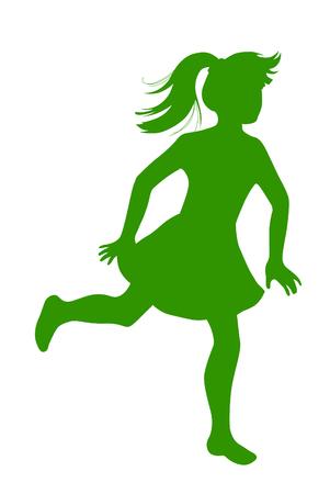 little girl feet: Silhouette little of girl runs away