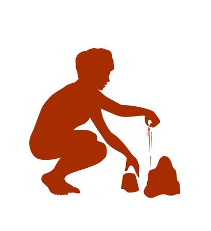 male silhouette: Muchacho que se divierte jugando Vectores
