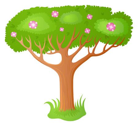 fairy tree: Vector cartoon stylized flowering fairy tree