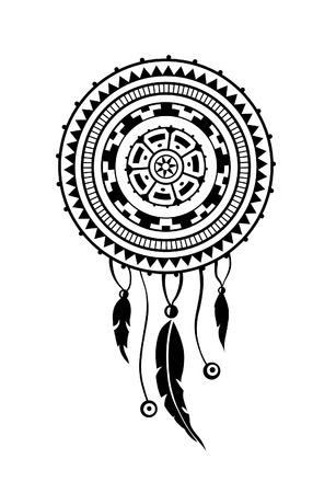 incorporate: Round amulet with ethnic patterns. Ends with pendants in the form of feathers