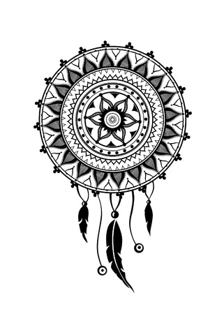 color tribal tattoo: Round amulet with ethnic patterns. Ends with pendants in the form of feathers