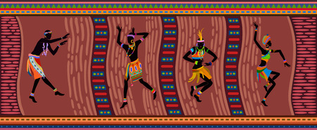 Free dance exotic people. Ritual absorb these people entirely and enters into a trance. Unity with nature and the environment in their lives, reveals their beauty and brings to their lives holiday Vector