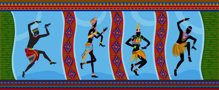 aborigines: Free dance exotic people. Ritual absorb these people entirely and enters into a trance. Unity with nature and the environment in their lives, reveals their beauty and brings to their lives holiday Illustration