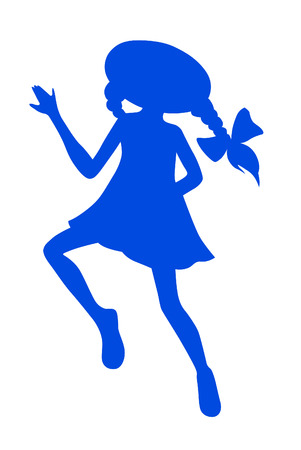 pigtails: Silhouette cartoon little playing girl with pigtails