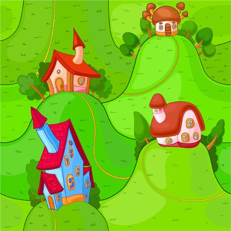 hillock: Peque�a casa de hadas se encuentra en las colinas verdes alegres