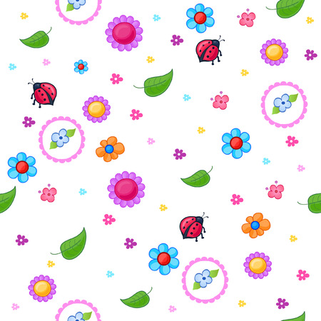Backgrounds of the things that little girls play. It consists of cheerful flowers, leaves and ladybugs Vector