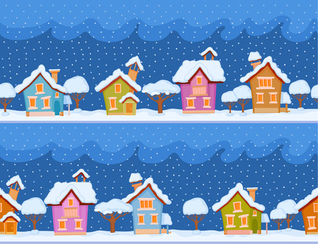 dreamland: Backgrounds of winter streets with fabulous houses and trees. The evening comes and the snow falls Illustration