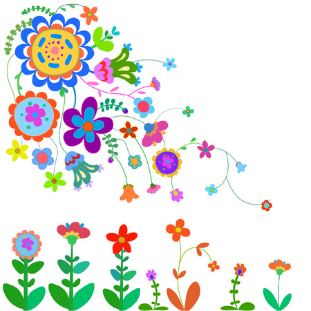 naive: Cheerful, happy flowers painted in a naive manner. Each flower of the same color Illustration