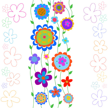 Cheerful, happy flowers painted in a naive manner. Each flower of the same color Illustration
