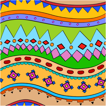incorporate: Ethnic patterned stripes bent waves in childhood background Illustration