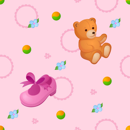 Background of things and toys for the little baby Vector