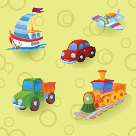 barco caricatura: �En el fondo es diferentes juguetes. Y para ser precisos, es un camiones de juguete Vectores