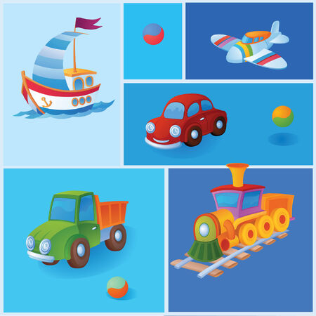 precise: Wherein the background is different toys. And to be precise, it is a toy trucks Illustration